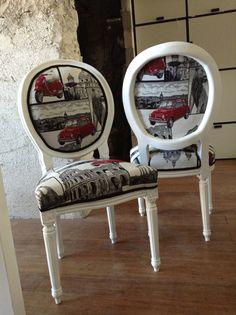 Chaises médaillon restaurées à la moda Roma!
