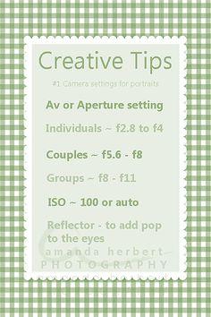 Creative tips #1 Camera Settings for Portraits.  amandaherbert.tum...