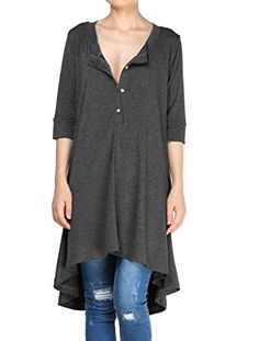 Women's Tunics - Mordenmiss Womens New Half Sleeve High Low Loose Tunic Tops *** Visit the image link more details. (This is an Amazon affiliate link)