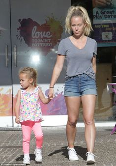 Squeee! Kendra Wilkinson Baskett donned tiny denim cut-offs to paint crafts with her two-year-old daughter Alijah at Color Me Mine in Calabasas on Friday morning