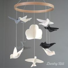 Gray and White Mobile  Gray and White Birds  Baby by dundryhill, $49.00