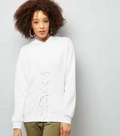 White Lace Up Longline Hoodie
