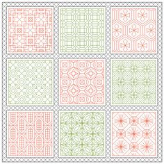 Pink and Green Sampler- Blackwork