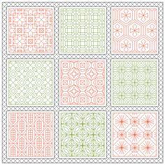 Pink and Green Sampler- Blackwork Embroidery Pattern. $15.00, via Etsy.