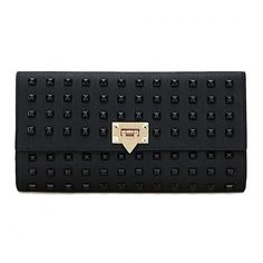 Yoins Black Studded Embellished Leather-look Clutch Bag ($27) ❤ liked on Polyvore featuring bags, handbags, clutches, yoins, black, studded purse, embellished handbags, locking purse, vegan leather purse and punk handbags