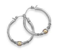 Polished Silver Hoop Earrings with Bali Design and 14 Karat Gold Plate Beads