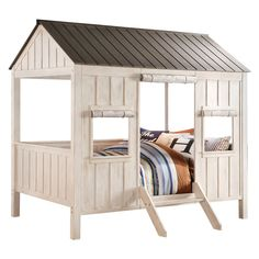 Buy the Acme Furniture Spring Cottage Bed in White/Gray Finish at Kids Furniture Warehouse. Spring Cottage Bed is sure to transform any room into the ultimate dreamland. Full Bunk Beds, Kids Bunk Beds, Cool Kids Beds, Cabin Beds For Kids, Full Bed, Cama Full, Bed Weather, Kid Furniture, Child Room