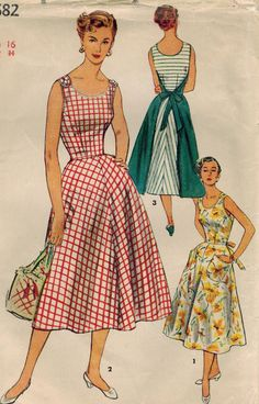 1950s Simplicity 4682 Vintage Sewing Pattern Misses Wrap Around Dress Size 16 Bust 34