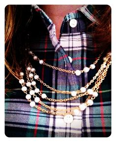 Tartan Flannel and Pearl w/ Gold Chain Necklace