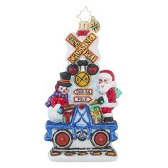 Christopher Radko Ornaments | Radko It Takes Two Santa Claus and Transportation Christmas Ornament