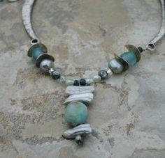 Necklace with Green Aventurine and Freshwater by ZanzibarJewelry. www.etsy.com/shop/ZanzibarJewelry