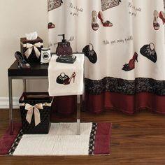 Chantilly Bath Collection - Shower Curtain for sale online Modern Shower Curtains, Bathroom Shower Curtains, Fabric Shower Curtains, Leopard Print Bathroom, Apt Ideas, Decor Ideas, Apartment Ideas, Home Suites, Christmas Village Display