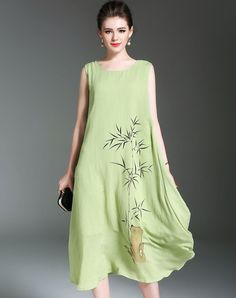 #AdoreWe #VIPme (VIPSHOP Global) SHIHUATANG Light Green Ramie Cotton Bamboo Sleeveless Oversized Midi Dress - AdoreWe.com