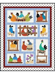 hen party quilt pattern Finished size: x Design by Sindy Rodenm. Halloween Quilts, Halloween Quilt Patterns, Lap Quilt Patterns, Applique Patterns, Applique Quilts, Applique Templates, Couture Pour Halloween, Motifs D'appliques, Chicken Quilt