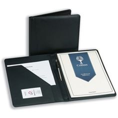 Collins Deluxe Leather Portfolio Black Ref 5102c Stylish A4 Complete With Pad And Penfeatures Doent