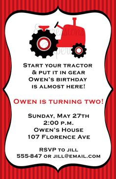 Red Tractor Birthday Party Invitations by ExpressionsPaperie, $11.00