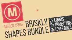 """Briskly shapes bundle consists of two versions of a logo animation, three transitions and three lower thirds. All colors are editable in Premiere Pro through """"Tint"""" effect in each sequence. The perfect toolkit to make your videos look professional and stylish. Everything is ready to go right in Premiere Pro, no After Effects required!"""