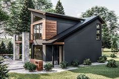 Modern 2 Car Garage with Apartment Small Modern Home, Modern Tiny House, Tiny House Plans, Tiny House Design, Modern House Design, Modern Exterior House Designs, Modern Home Exteriors, Small Contemporary House Plans, Ultra Modern Homes