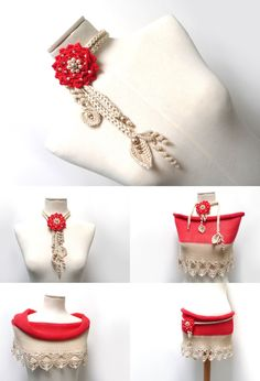 Crochet Cotton Lariat Necklace - Light Beige / Sand Leaves and Bright Red / Cherry Flower with Glass Pearls - LITTLE PEONY by ixela on Etsy https://www.etsy.com/listing/195135526/crochet-cotton-lariat-necklace-light