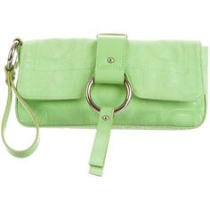 Pre-owned Dolce & Gabbana Monogram Canvas Wristlet ($75) ❤ liked on Polyvore featuring bags, handbags, clutches, green, green clutches, monogram pochette, wristlet purse, monogrammed handbags and green handbags