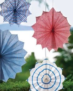 Red, White, and Blue - accordion folded paper fan decoration