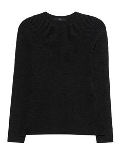 Feinstrick-Pullover Ausgestellt geschnittener schwarzer Feinstrick-Pullover aus einem hochwertigen Merinowoll-Gemisch in gerippter Optik mit Rundhalsausschnitt und Schößchen-Einsatz am Rückenteil.  Ein Basic mit dem gewissen Etwas!