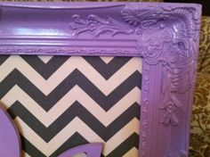 Purple frame with chalk board paint or burlap to pin pictures on