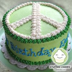 Peace Sign Cake                                                                                                                                                      More Peace Sign Cakes, Round Cakes, Cake Designs, Cake Decorating, Cake Ideas, Birthday Cakes, Birthday Ideas, Desserts, Kids