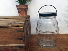 Vintage Glass Pickle Jar with Bale Handle  by greatoldcountryfinds