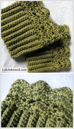 """FREE boot cuffs crochet pattern: Belmont Boot Toppers (Ravelry) Will make nice """"stocking stuffers"""" (LOL) for my favorite girlies! Crochet Boots, Crochet Gloves, Crochet Slippers, Knit Or Crochet, Crochet Crafts, Crochet Projects, Free Crochet, Crotchet, Crochet Headbands"""