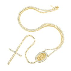 14K Yellow Gold Finish Designer Rosary With A 3D Jesus Figure Set In Oval Chain Stopper & 1 Row Lab Diamond Set Cross Link Pendant Stock: V01-981 SKU: 231641658773 Make: Rosary Dimension: Chain Length