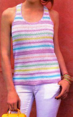 tejidos artesanales en crochet: musculosa tipo olimpica tejida en crochet (talle 1).