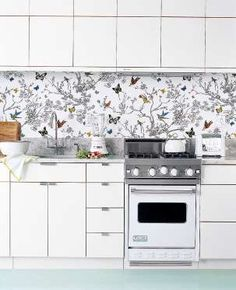 Instead of spending the entire weekend tiling your backsplash, use a patterned wallpaper for a faste... - Provided by POPSUGAR