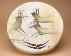 """Native Tarahumara Hand Painted Drum 16"""" -Spirit Deer"""