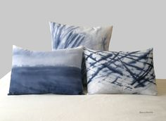 Blue Cushions. Hand painted pillows by BeccaTextile