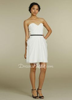 529fca75e4e white strapless sweetheart a line short pleated bridesmaid dress black belt  White Bridesmaid Dresses