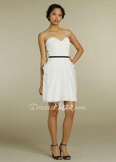 white strapless sweetheart a line short pleated bridesmaid dress black belt