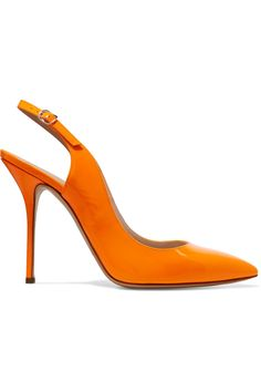 Jennifer Chamandi Orange Lorenzo 105 Leather Pumps | Pumps, Leather and  Woman