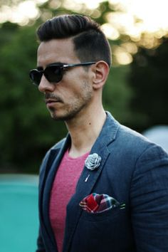 Mens Fashion _ Cerise T Shirt, blue blazer, grey lapel flower, tartan pocket square