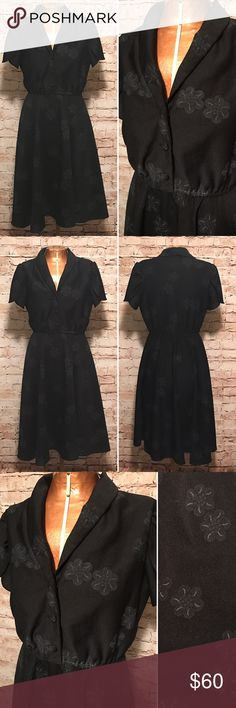 """Vintage 1970s 40s Style Shirt Dress MEASUREMENTS: Approximate Size: Medium 10 Bust: 34"""" Waist: 28"""" Hip: free Length: 25"""" from the natural waist Material: 100% Polyester  Tags: Queen's Row, Inc.   DETAILS: Shirt style dress. Tulip sleeves. Button front bodice. Elastic waist. Subtle flecks of sparkle in flowers.   CONDITION: The overall condition of this dress is excellent. There is no discoloration or staining on the dress. All of the buttons are attached and secure. Vintage Dresses"""