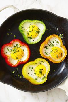 Flower Power Sunny-Side Eggs - Sunny side up eggs look even yummier framed in colorful bell pepper rings.
