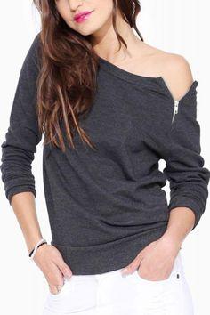Plain Off-shoulder Zipper Decorated Long Sleeve T-shirt