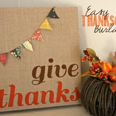I'm still on a mission to stop neglecting fall and creating some fun and easy decorations. I whipped up this easy and inexpensive Thanksgiving burlap canvas art last night in no time flat. Burlap Canvas Art, Fall Canvas, Canvas Crafts, Diy Canvas, Holiday Canvas, Canvas Ideas, Crafts To Do, Fall Crafts, Holiday Crafts