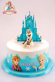 I Made this cake for my friend's daughter who loves frozen. My friend asked for Anna, Elsa and some castle or ice…but frozen wouldn't be complete without Olaf…so i made Olaf topper. Anna and Elsa were handpainted and the castle was airbrushed and...: