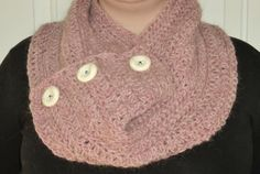 Dusty pink cowl scarf. hand made and designed by me in non smoking home.  made of 100% wool from iceland.   This scarf is very stylish and will keep you warm! it is great in the windy weather because of the thinker yarn that I used, it will keep all your body heat in.  This scarf also has three buttons sewn on purely for decoration.  One size fits all. Windy Weather, Cowl Scarf, Body Heat, Sewing A Button, Dusty Pink, One Size Fits All, Iceland, Smoking, Crochet Necklace
