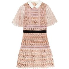 Self-Portrait Guipure lace mini dress (7,420 MXN) ❤ liked on Polyvore featuring dresses, mini dresses, pastel pink dress, lace dress, mini dress, lace mini dress and pink lace cocktail dress