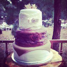 Custom outdoor rustic mountain wedding cake