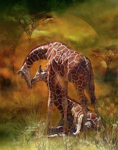 Giraffe World by Carol Cavalaris ~ mixed media