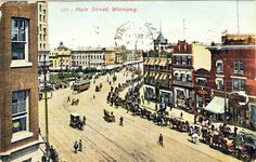 Main Street. C. S. Co. Ltd., Winnipeg. Postcard mailed Sept. 11, 1908 to a Mrs. Maggie Craw of Sadorus, Champaign Co., Illinois. Image appears to predate the McLaren Hotel so is likely c. 1905.