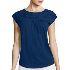 jcpenney.com | Liz Claiborne® Sleeveless Embellished Yoke Tee